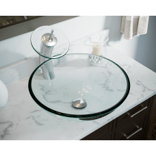 DG 601-Crystal Glass Vessel Sink with Faucet