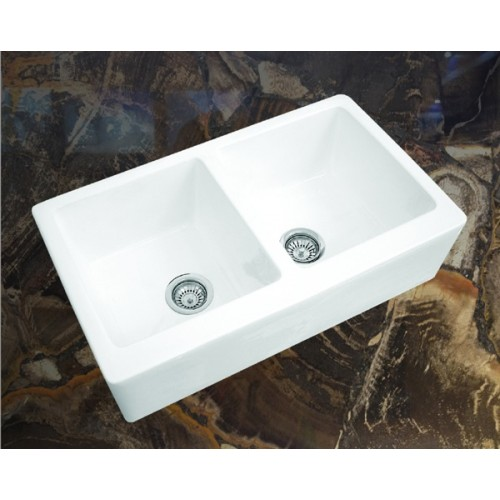 AFS3018 - Double Bowl Fireclay White Farmhouse Sink with Fluted ...