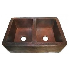 CK702 -  Double Bowl Hand Hammered Farmhouse Copper Kitchen Sink Apron Front 50/50 - 16 Gauge